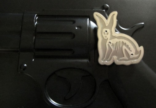 boom boom bunny brooch, saw pierced brushed silver and titanium