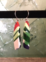 yardbird earrings (flock), fused glass & silver