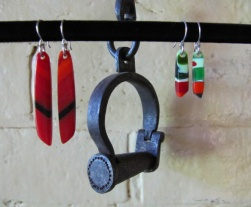 yardbird earrings (king parrot), fused glass & silver