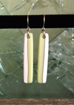 lolly drop earrings (lemon meringue), fused glass & silver