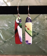 yardbird earrings (painted parrot), fused glass & silver