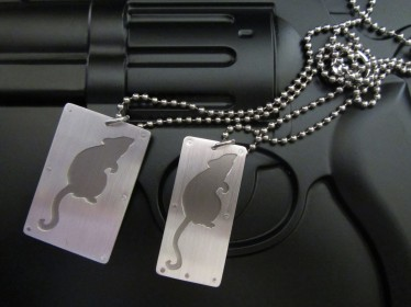 rat tags, saw pierced brushed silver and titanium, stainless