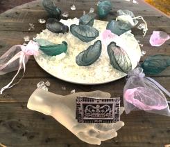 lost wax cast lead crystal oyster shells