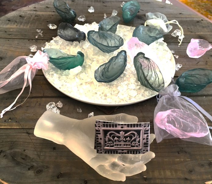 lost wax cast lead crystal oyster shells