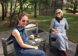 Ging and Jen, lamingtons on the deck